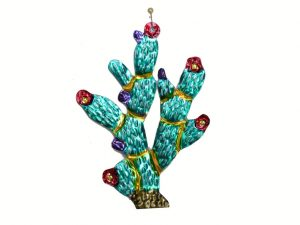 Cactus, Prickly Pear, painted tin ornament