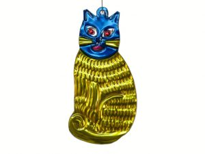 Cat, yellow, Mexican tin ornament