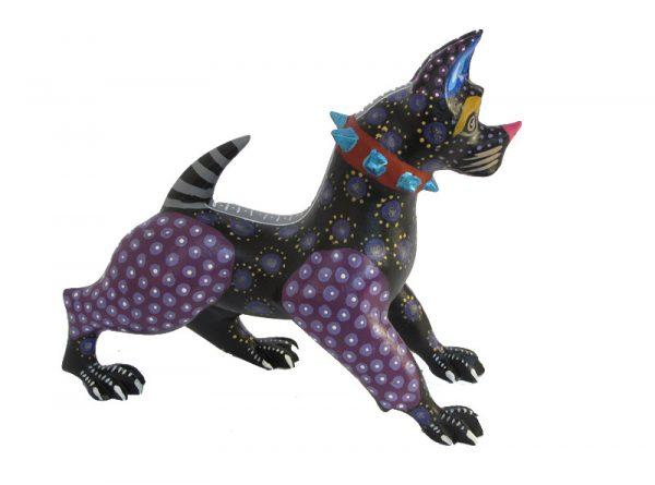 American Pit Bull Dog, Oaxacan Wood Carving, black/purple, 6.5-inch long