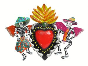 Heart with Skeleton Angels, painted tin wall plaque