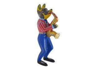 Nahual Bear Saxophonist, Oaxaca Alebrije, 7-inch tall
