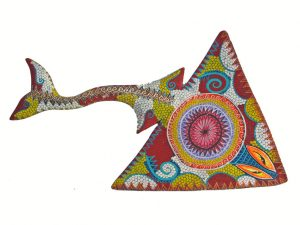 Manta Ray #1 by Tribus Mixes, Wood Carved Animal, Wall Decor, 17-inch long