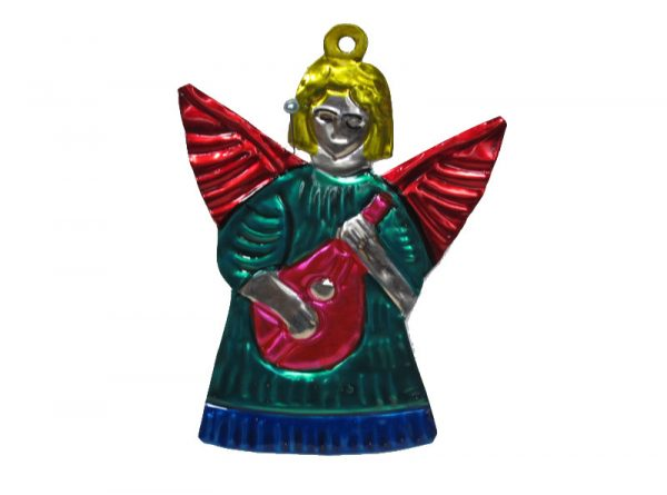 Angel w/Mandolin, painted tin ornament, green gown