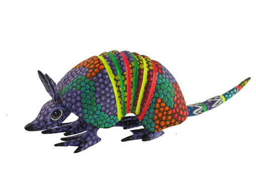 Armadillo by Tribus Mixes, Oaxacan Wood Carving, purple face, 8 1/2-inch long