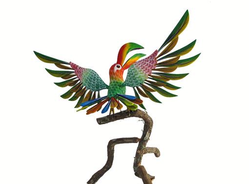 Toucan Bird on Branch, Oaxacan Wood Carving