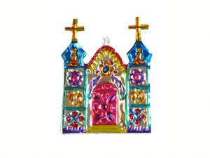 Church, Mexican painted tin ornament, 4.5-inch