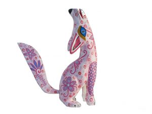 Coyote, Alebrije Wood Carving, white/pink, 8-inch