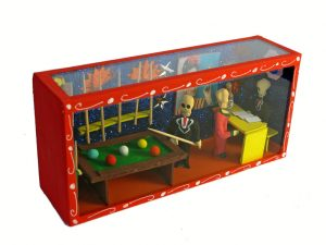 Skeleton Figures In Pool Hall, Day of Dead diorama box