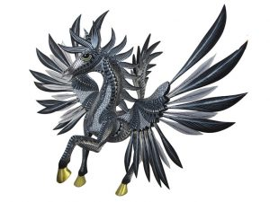Pegasus Winged Horse, wood carved animal, black/silver/white, 18-inches tall