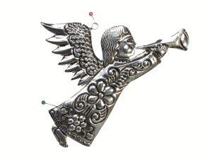 Angel flying right, tin wall art