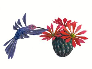 Cactus with Hummingbird Wood Sculpture, 12-inch long