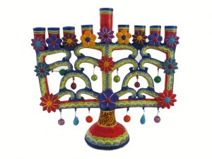 Menorah, Mexican Pottery Candelabra, red, 27 cm.