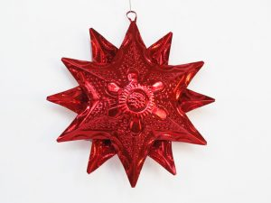 Tin Star Ornament, red, 6-inch with 12 points