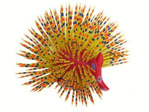 Porcupine, Oaxaca Alebrije, yellow quills, 6.5-inch