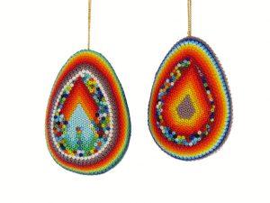 Huichol Art Beaded Eggs, pair #1, 2 3/4 inches tall