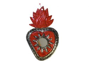 Red Heart with Mirror, sunflower design, Mexican tin art, 6-inch