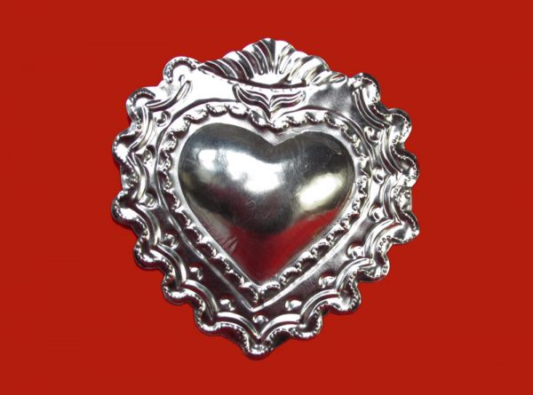 Heart with 3D Design, Mexican tin wall plaque, 5-inch