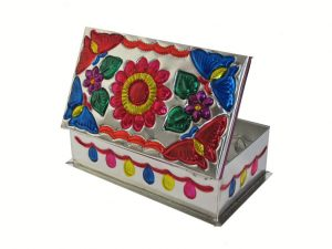 Embossed Tin Box, Design #1, (flower & 4 butterflies), 6 inches long