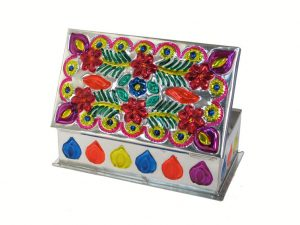 Embossed Tin Box, Design #4, (blossoms & ferns), 6 inch long
