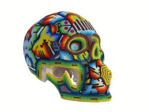 Huichol Art Beaded Skull, 8-inch long, #2