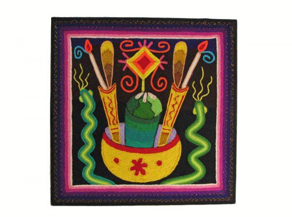 Huichol Yarn Painting #6, 12-inch