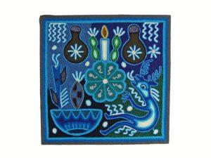 Huichol Yarn Painting #1, blue peyote