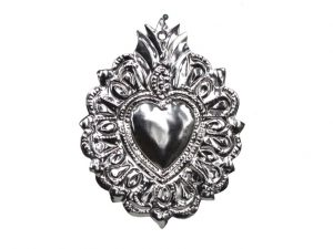 Tin Heart Ornament by Carlos, 5.5 inches tall, style #5