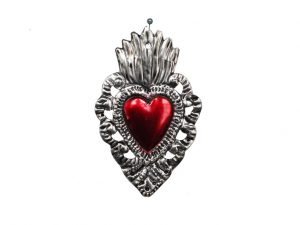 Heart with Cut-Out Border, Mexican Tin by Aquino, 4-inch