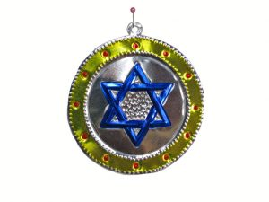Star of David, tin ornament, blue in yellow, 4-inch
