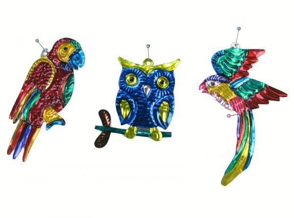 A Birds Collection, Mexican Tin Ornaments, Boxed Set Of 10