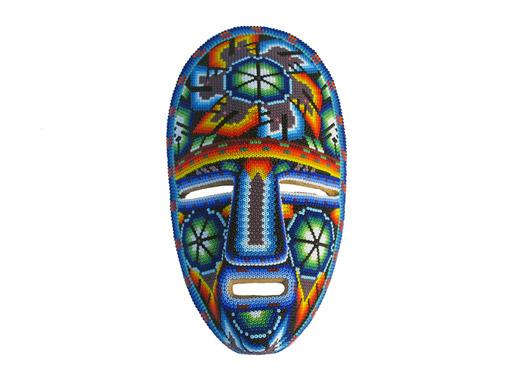 Huichol Art Mask, wall decor, wooden base, #1, 8-inch tall