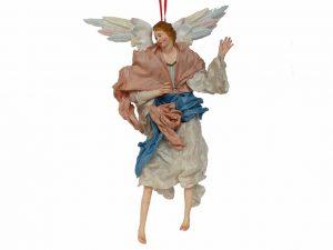 Neapolitan Hanging Angel, terra-cotta, 12-inch, (30 cm.) tan/blue/white