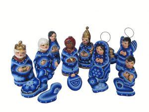 Huichol Art Beaded Nativity Set, 14 pieces