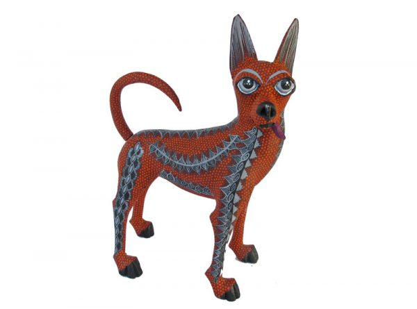 Red Dingo, Wood Carved Animal by Tribus Mixes, 7-inch long
