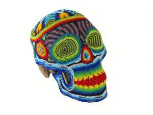 Huichol Art Beaded Skull, 8-inch long, #4