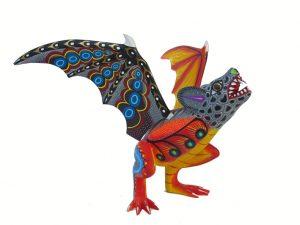 Bat Alebrije #2 by Blas family, wood carved animal, 10-inch long