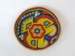Huichol Beaded Gourd Prayer Bowl, bird design, 12-cm. diameter