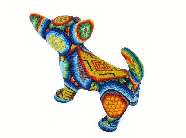 Chihuahua, Huichol Art Figurine, 8-inch long