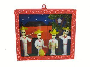 Skeleton Mariachis in White, diorama box