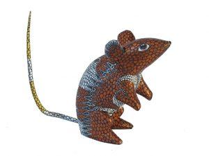 Rat Alebrije, bronze accent, 4-inch tall