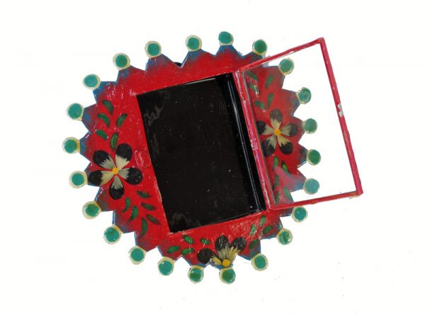 Mexican Tin Nicho, Empty Frame, hand-painted, red heart. Customize with your family photo