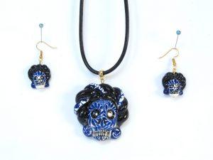 Skeleton Frida Kahlo, Pendant and Earrings, blue