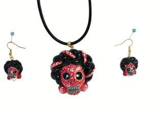 Skeleton Frida Kahlo, Pendant and Earrings, red