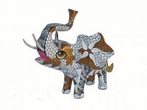 Elephant, Oaxaca Alebrije by Tribus Mixes, white/copper, 5-inch long