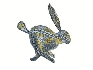 Running Rabbit Oaxaca Alebrije by Tribus Mixes, gold, black, white 5.5-inch long