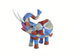 Elephant, Oaxaca Alebrije by Tribus Mixes, multicolor, 6.5-inch long