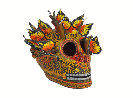 Skull With Butterflies, Mexican Pottery Art, yellow
