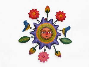 Sun, (purple) Wall Art, Mexican pottery from Izucar de Matamoros, 4.5 inches wide.