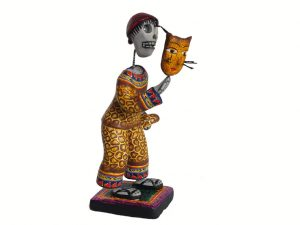 Skeleton Man Dancer In Leopard Costume, Mexican Pottery