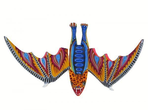 Hanging Bat Alebrije, by Blas family, 11-inch wingspan
